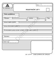 Registrační list I - II, blok 2x50 listů