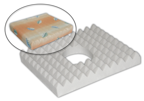 Antidekubitní sedák 45x40x10 s otvorem